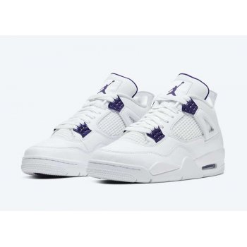 Shoes Hi top trainers Nike Air Jordan 4 Metallic Purple White/Metallic Silver-Court Purple