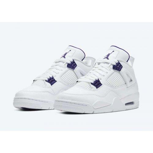 Shoes Hi top trainers Nike Air Jordan 4 Metallic Purple White/Metallic Silver-Court Purple
