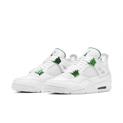 Shoes Hi top trainers Nike Air Jordan 4 Metallic Green White/Pine Green-Metallic Silver
