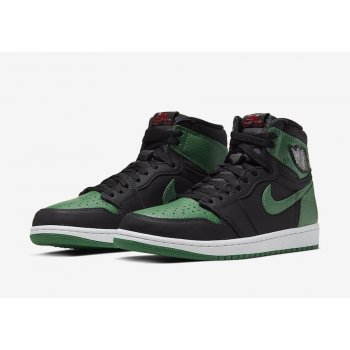 Shoes Hi top trainers Nike Air Jordan 1 Pine Green 2.0 Black/White-Pine Green-Gym Red