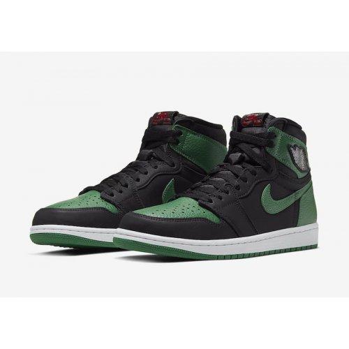 Shoes Hi top trainers Nike Air Jordan 1 Pine Green 2.0 Black/White-Pine Green-Gym Red