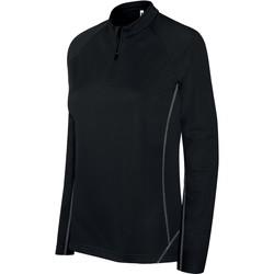 Clothing Women Track tops Proact Sweat femme  Running 1/4 Zip noir