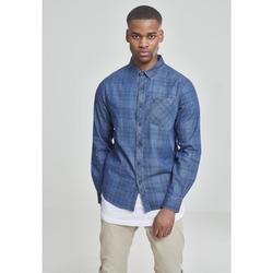Clothing Men Long-sleeved shirts Urban Classics Chemise Urban Classic printed denim bleu foncé