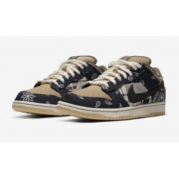 Shoes Low top trainers Nike SB Dunk Low x Travis Scott Black/Black/Parachute Beige/Petra Brown