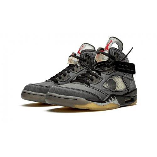 Shoes Hi top trainers Nike Air Jordan 5 x Off White Black Black/Black-Metallic Gold