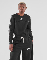 Clothing Women Sweaters Nike NSMLNESSNTL FLC CREW Black / White