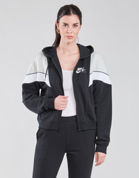 Clothing Women Sweaters Nike NSHERITAGE FZ FLC Black / Grey / White