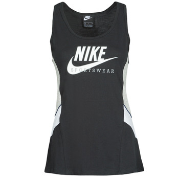 Clothing Women Tops / Sleeveless T-shirts Nike NSHERITAGE TTOP HBR Black / Grey / White
