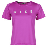 Clothing Women Short-sleeved t-shirts Nike RUN DVN MILER TOP SS Purple / Silver
