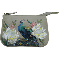 Bags Women Pouches / Clutches Anuschka 1107  Regal Peacock -Hand Painted Leather Multicolour