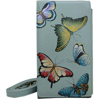 Bags Women Mobile phone covers Anuschka 1154 Butterfly Heaven- RFID Block Hand Painted Leather Multicolour