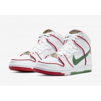 Shoes Hi top trainers Nike SB Dunk High x Paul Rodriguez White/Red/Green