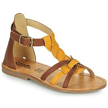 Shoes Girl Sandals Citrouille et Compagnie GITANOLO Yellow / Camel
