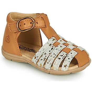 Shoes Girl Sandals Citrouille et Compagnie RINE Camel / Monochrome / Gold