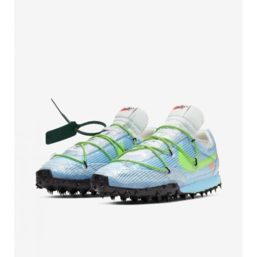 Shoes Low top trainers Nike Waffle Racer x Off White Bleu Vivid Sky/Black-Electric Green