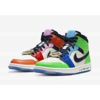 Shoes Low top trainers Nike Air Jordan 1 Mid Fearless x Melody Ehsani White/Black/Half Blue/Habanero Red