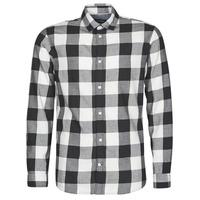 Clothing Men Long-sleeved shirts Jack & Jones JJEGINGHAM White / Black