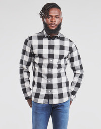 Clothing Men Long-sleeved shirts Jack & Jones JJEGINGHAM White / Black