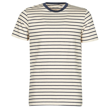 Clothing Men Short-sleeved t-shirts Jack & Jones JJESTRIPED Beige / Black