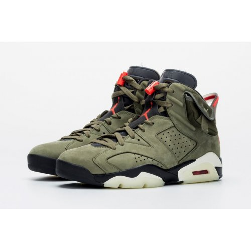 Shoes Hi top trainers Nike Air Jordan 6 x Travis Scott Olive  Medium Olive/Black-Sail-University Red