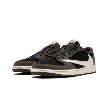 Shoes Low top trainers Nike Air Jordan 1 Low x Stravis Scott Black/Dark Mocha/University Red/Sail