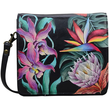 Bags Women Messenger bags Anuschka 669 Island Escape Blk-RFID Block Handpainted Leather Multicolour