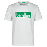 Clothing Men Short-sleeved t-shirts Benetton 3096J17H6-101 White / Green