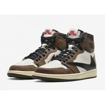 Shoes Hi top trainers Nike Air Jordan 1 High x Travis Scott  Sail/Dark Mocha/University Red-Black