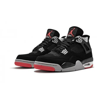 Shoes Hi top trainers Nike Air Jordan 4 Bred Black/Cement Grey-Summit White-Fire Red