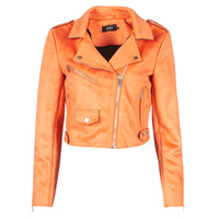 Clothing Women Leather jackets / Imitation leather Only ONLSHERRY CROP BONDED BIKER  Orange