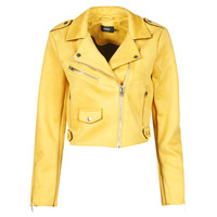 Clothing Women Leather jackets / Imitation leather Only ONLSHERRY CROP BONDED BIKER  Yellow