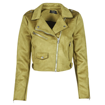 Clothing Women Leather jackets / Imitation leather Only ONLSHERRY CROP BONDED BIKER Green