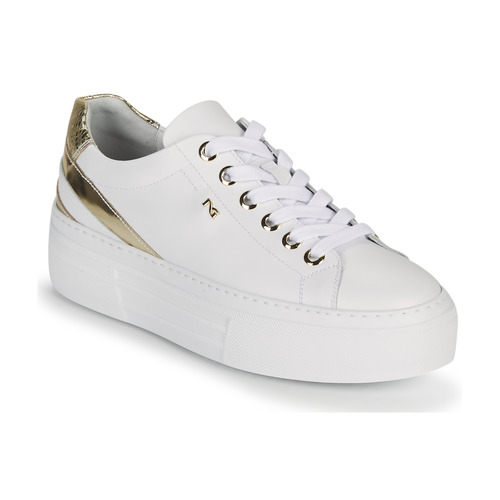 Shoes Women Low top trainers NeroGiardini LAITO White / Gold