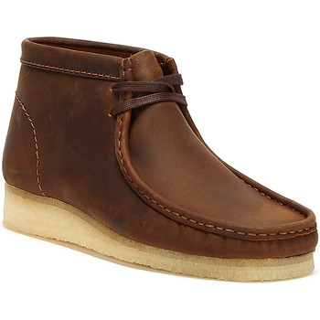 Shoes Men Mid boots Clarks Wallabee Leather Mens Beeswax Brown Boots Brown