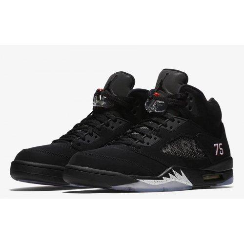 Shoes Hi top trainers Nike Air Jordan 5 x PSG Black Black/White-Challenge Red