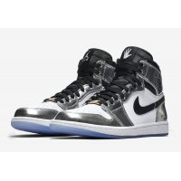 Shoes Hi top trainers Nike Air Jordan 1 High Pass The Torch CHROME/BLACK-WHITE-TURBO GREEN