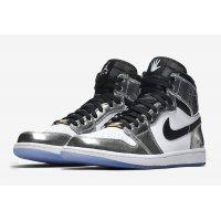 Shoes Hi top trainers Nike Air Jordan 1 High Pass The Torch CHROME/BLACK-WHITE-TURBO GREEN