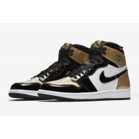 Shoes Hi top trainers Nike Air Jordan 1 High Gold Toe Black/Black-Metallic Gold-White
