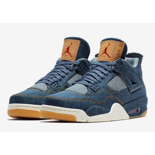 Shoes Hi top trainers Nike Air Jordan 4 Levi's Denim Denim/Denim-Sail-Game Red