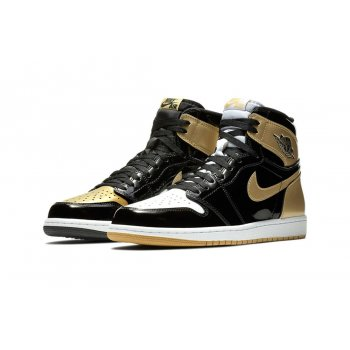 Shoes Hi top trainers Nike Air Jordan 1 High Top 3 Gold Black Black/Black-Metallic Gold