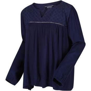 Clothing Women Tops / Blouses Regatta Calixta Long Sleeved Broiderie Shirt Blue Blue