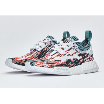 Shoes Low top trainers adidas Originals NMD R1 Primeknit datamosh Orange White/Vapour Steel/Collegiate Orange
