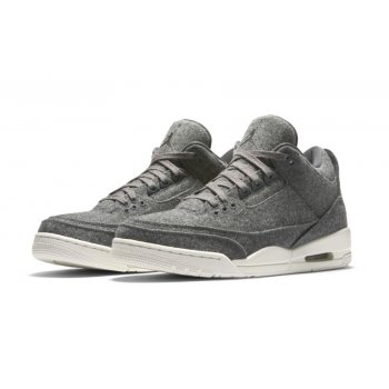 Shoes Low top trainers Nike Air Jordan 3 Wool Dark Grey Dark Grey/Dark Grey-Sail