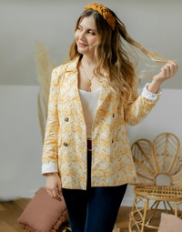 Clothing Women Jackets / Blazers Céleste ALIZE Yellow / White