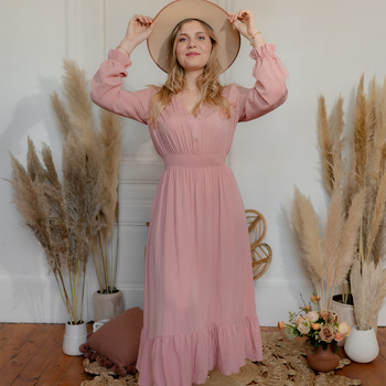 Clothing Women Long Dresses Céleste COLOMBE Pink