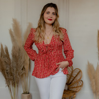 Clothing Women Tops / Blouses Céleste ROSSIGNOL Red / Multicolour