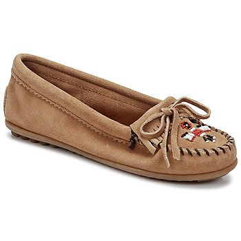 Shoes Women Loafers Minnetonka THUNDERBIRD II TAUPE / Suede