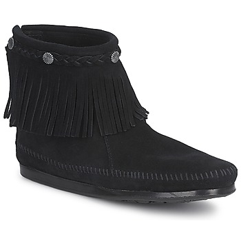 Shoes Women Mid boots Minnetonka HI TOP BACK ZIP BOOT BLACK / Suede