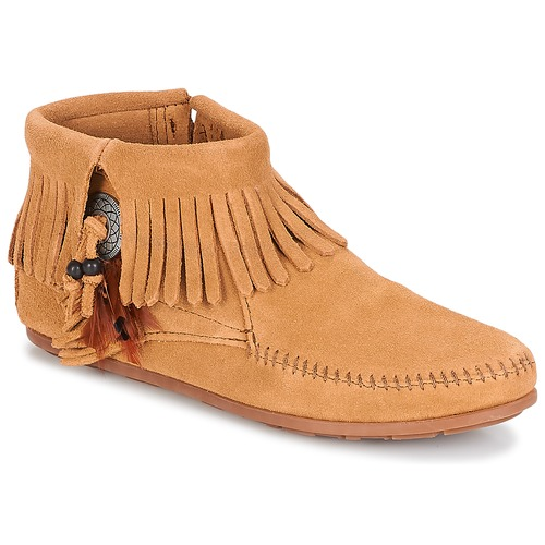 Shoes Women Mid boots Minnetonka CONCHO FEATHER SIDE ZIP BOOT TAUPE / Suede
