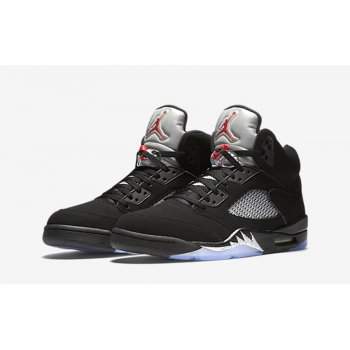 Shoes Hi top trainers Nike Air Jordan 5 Black Metallic Silver Black/Fire Red-Metallic Silver-White
